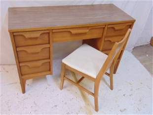 """Mid Century desk & chair, no name, desk is 46"""" by"""