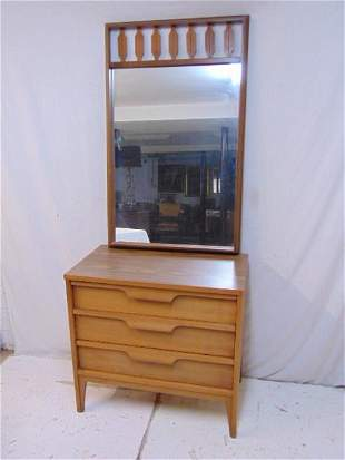 Mid Century chest with mirror, triple drawer chest is