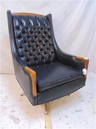 "Mid Century vinyl tufted back desk chair, ""Avant"