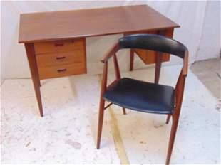 Teak Danish desk & Hovedstadens arm chair, desk is