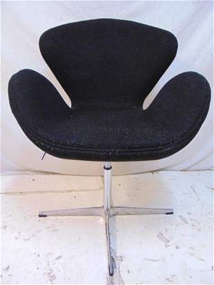 Mid Century desk chair, Swan style, black upholstery on