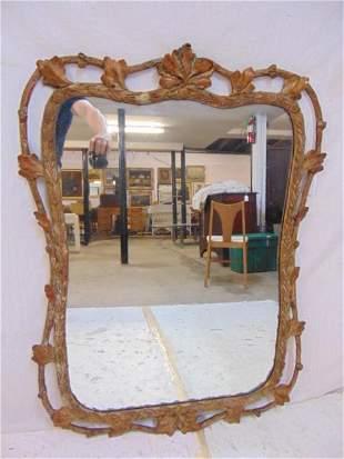 Carved gilt mirror with oak leaf & wheat decoration,