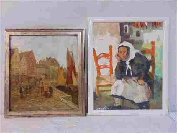 2 paintings, Dutch or Flemish town, harbor scene,