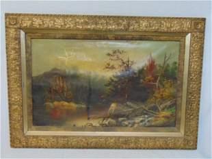 Decorative gilt frame with oak leaf pattern, with