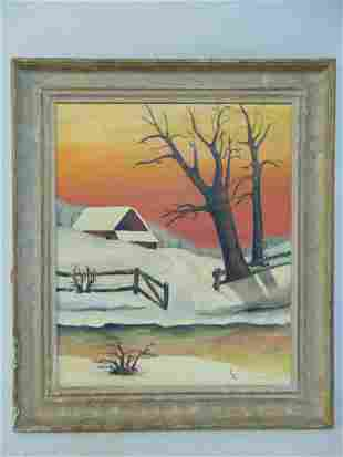 "Painting, folksy winter scene, signed ""C'L"", oil on"