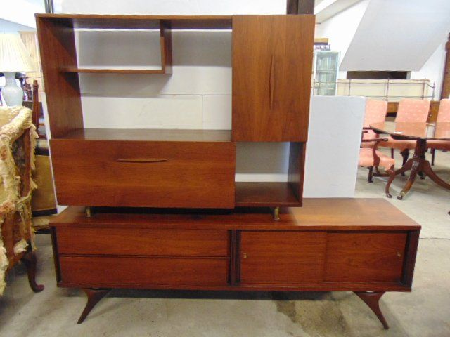 Mid Century cabinet, two piece bar, sideboard combo