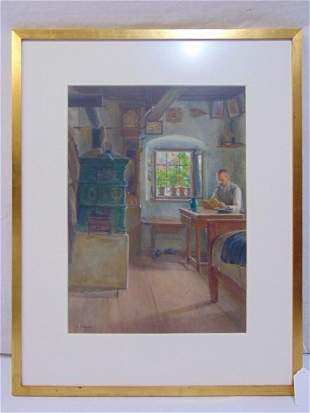 Painting, Joseph Strockal, interior scene, man reading