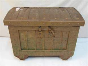 Decorative strongbox, trunk, metal over wood, on wheels