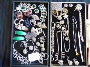 Lot Rhinestone encrusted costume jewelry