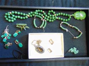 Jewelry lot, jade like stone necklaces, earrings, more