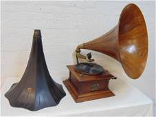 Victor 3 Victrola talking machine with oak & extra tole