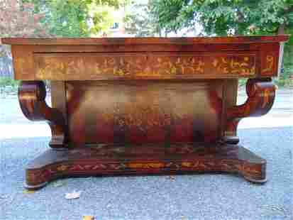 Inlaid Dutch marquetry console table, curled sides, in