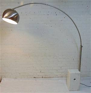 MCM arc floor lamp, marble block base, no name, with