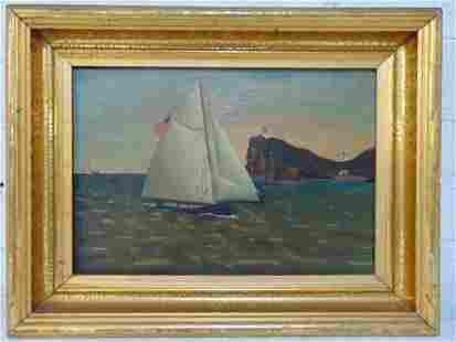 Painting, sailboat of coast, US flag, unsigned, fine