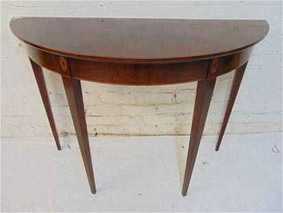 """Inlaid Mahogany demi lune console table, top is 45"""" by"""