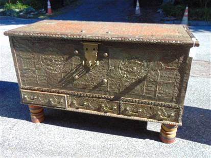 Syrian or Kuwaiti bridal chest, brass clad decorations,