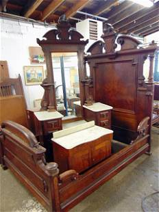 Victorian walnut bedroom suite, ornate bed with rails,