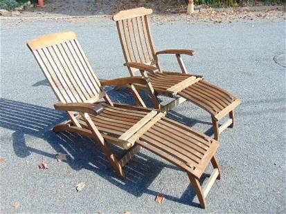 Pair Kingsley-Bate teak lounge chairs, folding, with