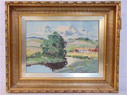 Painting, landscape, signed N.E. Engquist (?) oil on