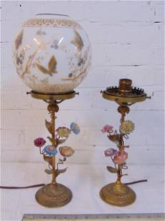 Pair floral decorated lamps with shade (one), brass