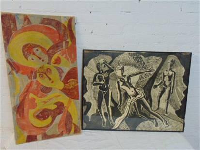 2 paintings, M. Borne batik, or painting on linen,