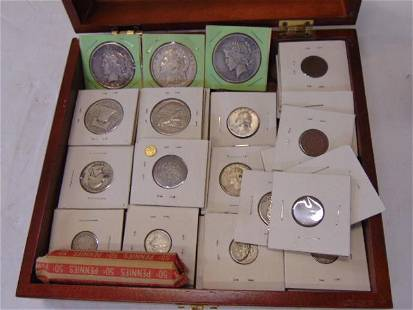 Lot currency, silver coins, mini St Gaudens gold coin,