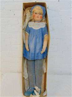 Large Lenci doll, cloth, velour body, girl with cap, in