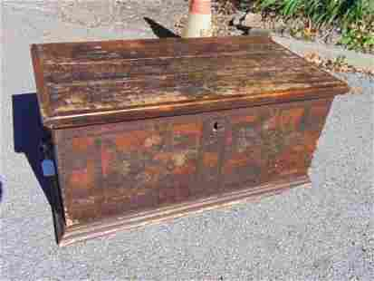 Paint decorated pine trunk, floral decorated front &