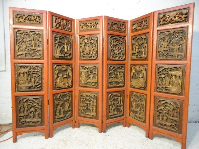 1: 6 panel carved Chinese screen, double sided