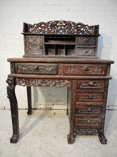 2: Carved Chinese desk.