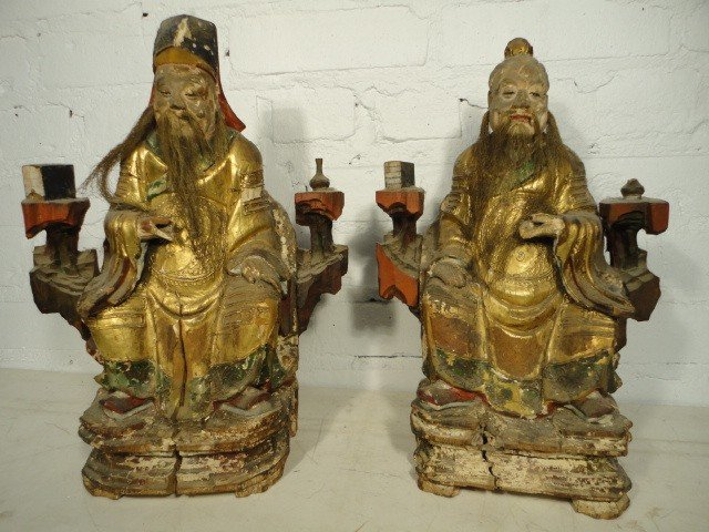 5: Pair carved wood Chinese figures.