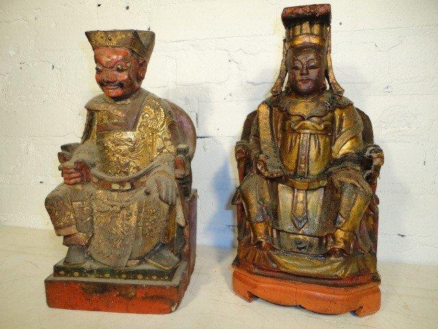 6: Pair carved wood & gilt figures.