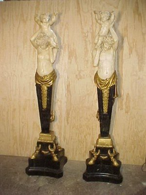 "30: Pair monumental 84"" tall bronze mounted marble stat"