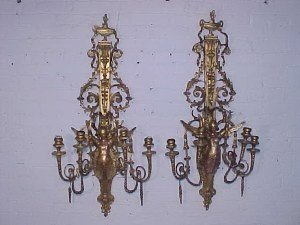 38: Pair outstanding gilt wood wall sconces