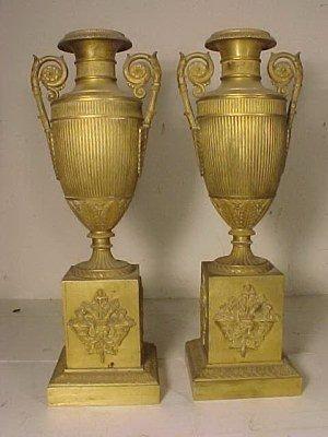 234: Pair gilt bronze garnitures / urns