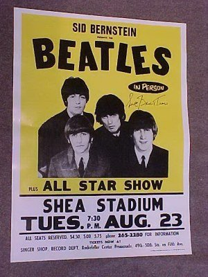 104: Beatles poster, signed by Sid Bernstein