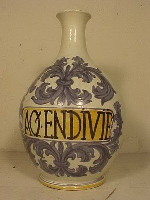 107: Blue & white apothecary vase / vessel