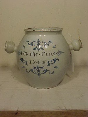 113: Large double handled apothecary jar, 1748.
