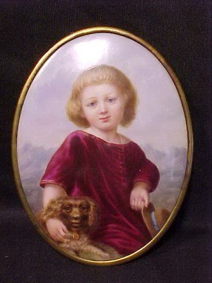 120: Oval portrait of child and dog on porcelain
