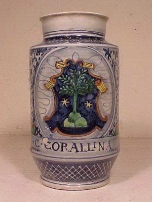 """131: Apothecary Jar """"C:CORALLINA T"""""""