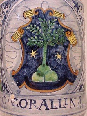 """131: Apothecary Jar """"C:CORALLINA T"""" - 2"""
