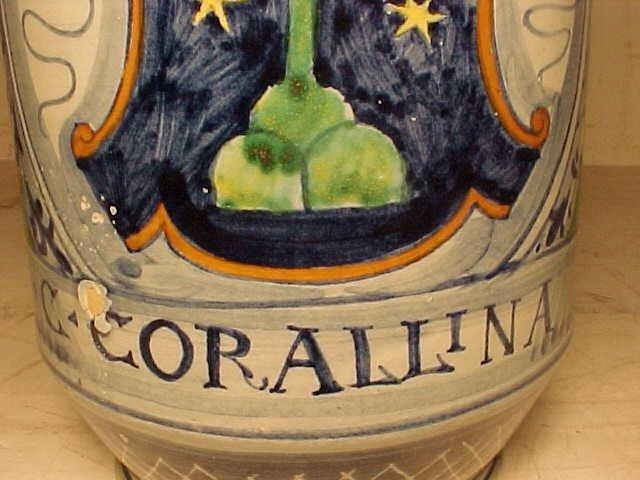 """131: Apothecary Jar """"C:CORALLINA T"""" - 6"""