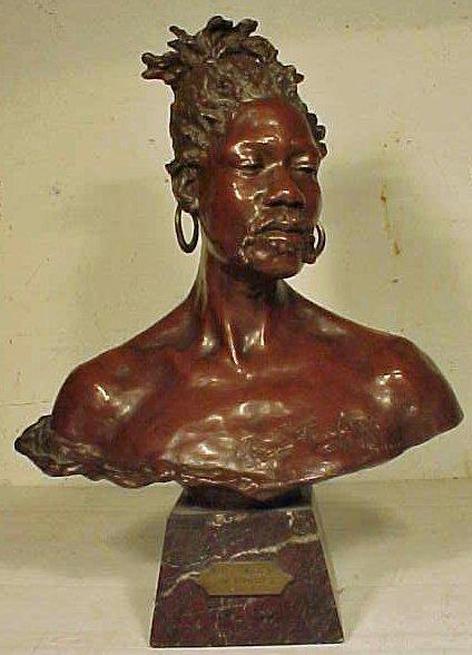 135: Bronze bust Negre du Tombouctou by Arthur Strasser