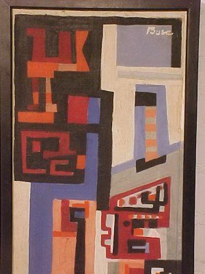 """190: O/C, abstract, signed Peter Busa, 23.5"""" by 8.5"""" - 2"""