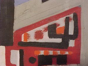 """190: O/C, abstract, signed Peter Busa, 23.5"""" by 8.5"""" - 3"""
