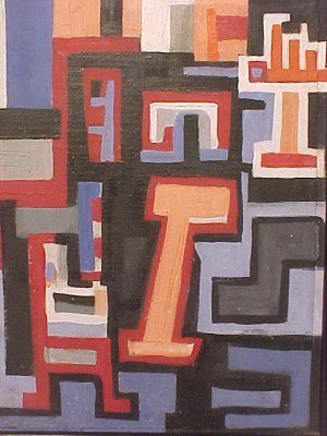 """190: O/C, abstract, signed Peter Busa, 23.5"""" by 8.5"""" - 5"""