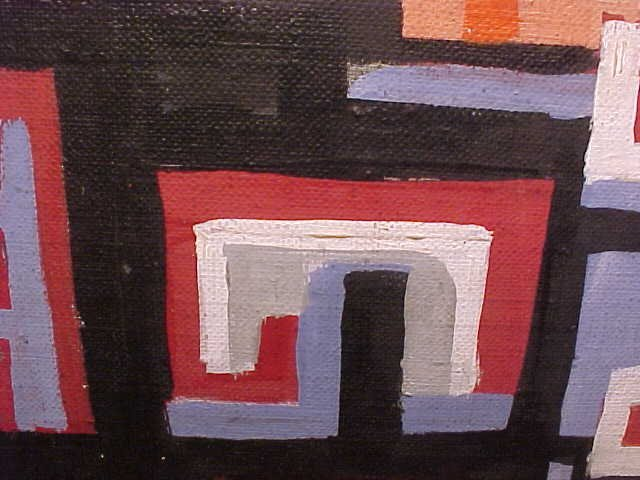 """190: O/C, abstract, signed Peter Busa, 23.5"""" by 8.5"""" - 8"""