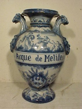 100: Large blue & white apothecary urn