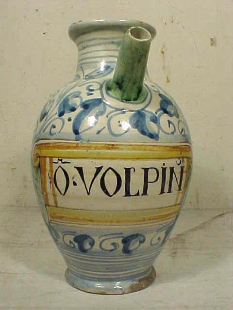 "102: Wet drug jar, ""O.VOLPIN"""