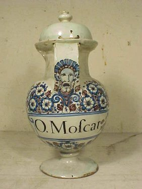 103: Wet drug jar, blue & purple decoration, with lid,